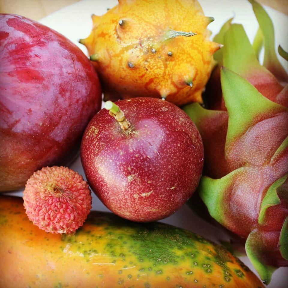 papaye, melon à corne, fruit du dragon, litchi, fruit de la passion