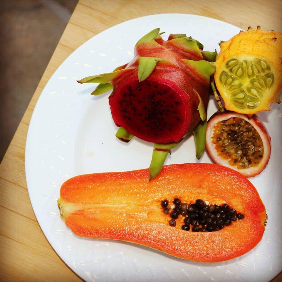 en andalousie melon à corne, fruit du drago, de la passion et papaye